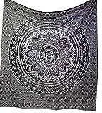 Indisch Wandteppich Mandala Ombre Queen 210x220 cms, Tapestry Hippie Psychedelic Wandbehang ,Elefant Boho Indien Baumwolle Wandtucher Orientalisch, Ein Perfektes Geschenk Wand Kust von Raajsee