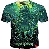 Iron Maiden Camiseta Estilo Simple patrón de Dibujos Animados de impresión de Manga Corta Cuello Redondo Camiseta Blusa Camiseta de Verano Blusa Hombres (Color : A34, Size : XXL)