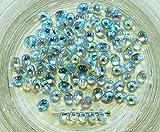 40pcs Cristal Azul del arco iris de Cristal checo Pequeña Lágrima Perlas de 4 mm x 6mm