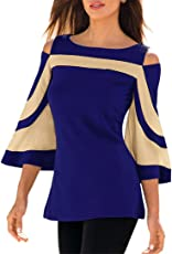 Kword Camicia Donna Primavera Estate Donne Maglietta Manica Lunga Patchwork Camicia, off-Spalla Felpa Pullover Top Camicetta Casuale Tops T Shirt