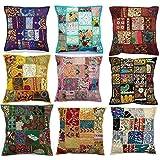 Kussensloop, 43,2 x 43,2 cm, patchwork-design, etnische look, Indiaas handwerk, 10 stuks