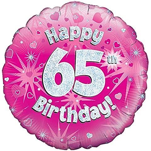 Oaktree 45,7cm Happy 65E ANNIVERSAIRE ROSE BALLON holographique - Rose - Taille unique