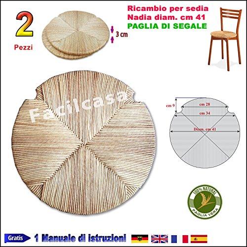 Facilcasa seduta rotonda fondo in paglia di segale ricambio sedia (nr. 2 art. nadia)
