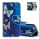 iPhone 5/5S/SE Bunte Muster Schutzhülle,Brieftasche für iPhone 5S - Aeeque [Vintage Blau Golden Schmetterling Muster] Kartenfach Standfunktion Schutzhülle Etui Handytasche für iPhone 5 5S SE mit Weich Silikon Innere Bumper Schale