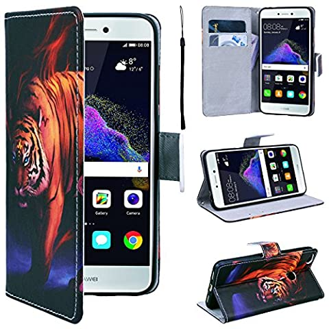 SmartLegend Huawei P8 Lite 2017 Wallet Case, P8 Lite 2017 Leather Case, Folio Flip Case Cover for Huawei P8 Lite 2017 with Strap, Cruel Cool Angrey Tiger Book Style PU Full Body Protection with [Kickstand] Stand Function, Card Slots Holster Purse, Soft TPU Silicone Inner Back Cover SmartPhone Protective Skin Cover for Huawei P8 Lite 2017 - King Tiger