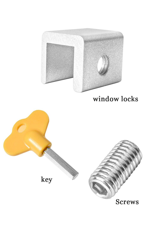 Plata marco de puerta con cerradura de aleaci/ón de aluminio Cerradura de seguridad para ventana corredera ajustable con cerradura de seguridad y llaves