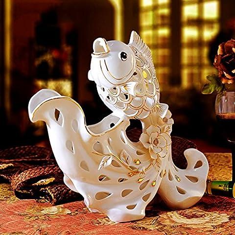 QFF's Kreativ Jade Porzellan Weinregal Keramik Goldfisch Dekoration Handwerk Roses Einrichtung Gliederung In Gold Home Dekorationen