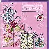"""Pigment Productions Originelle Geburtstagskarte """"Happy Birthday"""" - veredelt durch Prägung und Glitter mit farbigem Umschlag im Format 16x16cm innen blanco ZB804"""
