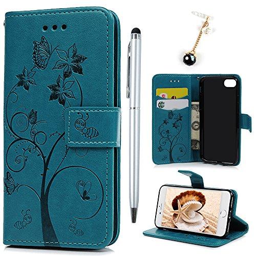 Badalink Hülle für iPhone 7 / iPhone 8 Ameise Baum Rosenrot Handyhülle Leder PU Case Magnet Flip Case Schutzhülle Kartensteckplätzen und Ständer Handytasche mit Eingabestifte und Staubschutz Stecker Blau