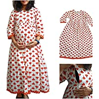 STAR DYNAMIC Maternity and Feeding Kurti, Ankle Length, Material Cambric Cotton, White