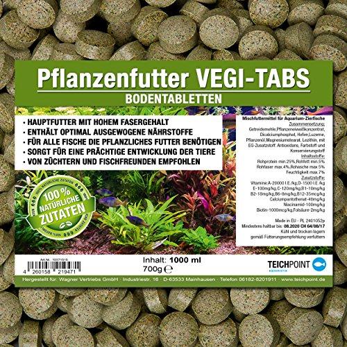 Vegi-Tabs PREMIUM Pflanzenfutter Bodentabletten (Hauptfutter für alle Pflanzen und Algen fressende Zierfische in Tablettenform) - Boden Futtertabletten im 1 Liter Beutel