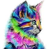 La Cabina 5D Peinture en Diamant DIY Point de Croix en Résine Décoration de Maison Salon Chambre - chat multicolore mignon