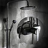 ETERNAL QUALITY Badezimmer Waschbecken Wasserhahn Messing Hahn Waschraum Mischer Mischbatterie Tippen Sie auf Antik Schwarz Regendusche Wasserhahn Kit Schlauch Voll Kupfer Badezimm