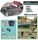 Reise Bauchtasche Hüfttasche mit RFID-Blockierung - Geldgürtel zum Sport, Reisen und Joggen, Verstellbaren Hüftgurt für Damen und Herren - enganliegend und wasserabweisend, CALEDONY Flache Reisegürtel -