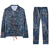 Ladies Floral Printing Pajamas Set Loose Long Casual Home Clothes Long Top & Bottoms Womens Nightwear