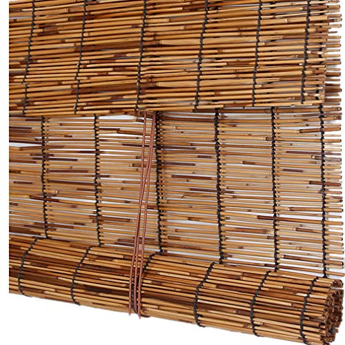 cur000tain Reed Vorhang, Strohvorhang, Bambusvorhang, Rollo, Vorhang, Arbeitszimmer/Teehaus/Laden, Größe Kann Besonders Angefertigt Werden, Karbonisiertes Braun, mit Haken