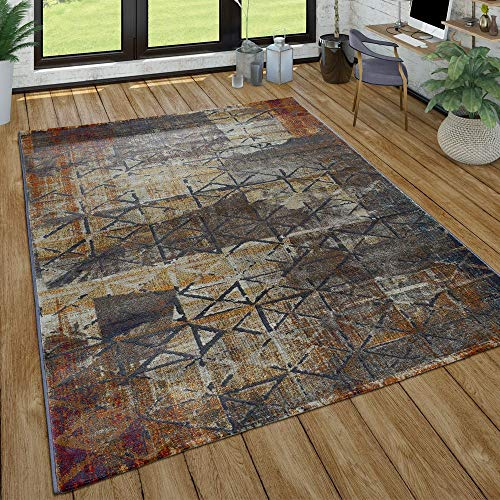 Paco Home Wohnzimmer Teppich Im Vintage Used Look, Industrial Style Kurzflor in Rostfarben, Grösse:80x150 cm, Farbe:Grau 2