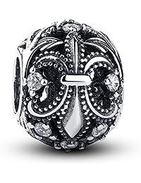 Lily Jewelry Flor de lis con bolas de plata de ley 925 CZ claro cabe pulsera