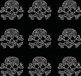 9X Kleine gefüllt Totenkopf Eisen auf Strass Transfer Kristall T-Shirt Aufnäher farblos