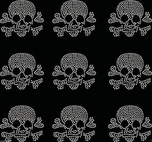 9X Kleine gefüllt Totenkopf Eisen auf Strass Transfer Kristall T-Shirt Aufnäher farblos (Transfers Die Auf Stickerei Für Eisen)