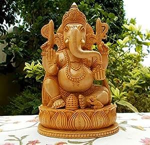 AapnoCraft Unique Designer Ganesha Statue Wooden Ganesh Sculpture God Of Luck Showpiece Office & Home Decor Wedding Gifts