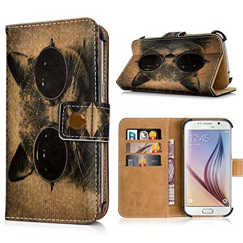 Phicomm Energy L Handytasche mit Standfunktion, Magnetverschluss & Kreditkartenfächern. Schutzhülle Tasche Case Brieftasche Handyhülle / Katze mit (Brillen Katze)