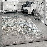 Paco Home Designer Teppich Wohnzimmer Moderne Ornamente Muster Meliert Grau Blau, Grösse:200x290 cm