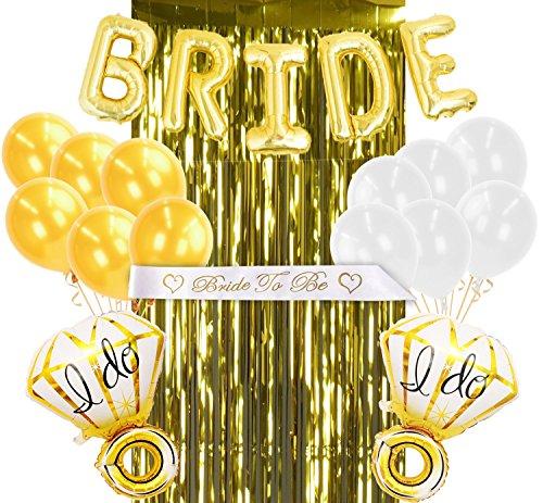 Coditechture Gold Uns Dekorationen Bridal Dusche Kit mit Mylar-Braut Ring Luftballons, Gold-Folie Fransen Vorhang, Bride to be Satin Band & Latex Luftballons