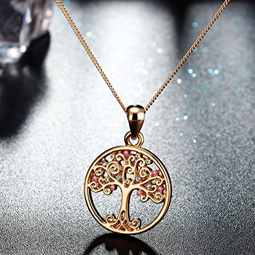 Murtoo Tree of Life Necklace Decorated with Colorful Swarovski Element Crystals Life Tree necklace For Women wDCGHY5FZ