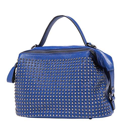 Dissa Q0659 Damen Leder Handtaschen Top Handle Satchel Tote Taschen Schultertaschen,29x16x22 B x T x H (cm) Blau