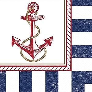 "Anchor de Anclas náuticas servilleta Parte vajilla, Papel, 6""x 6"", Pack de 16"