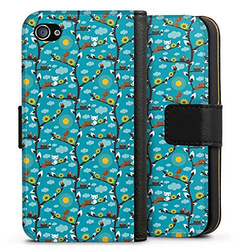 Apple iPhone X Silikon Hülle Case Schutzhülle Wolken Sonnenblumen Eichhörnchen Sideflip Tasche schwarz