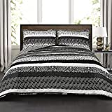Best Lush Decor Home Fashion Kids - Lush Decor Boho Stripe 3Piece Quilt Set, Black/White Review