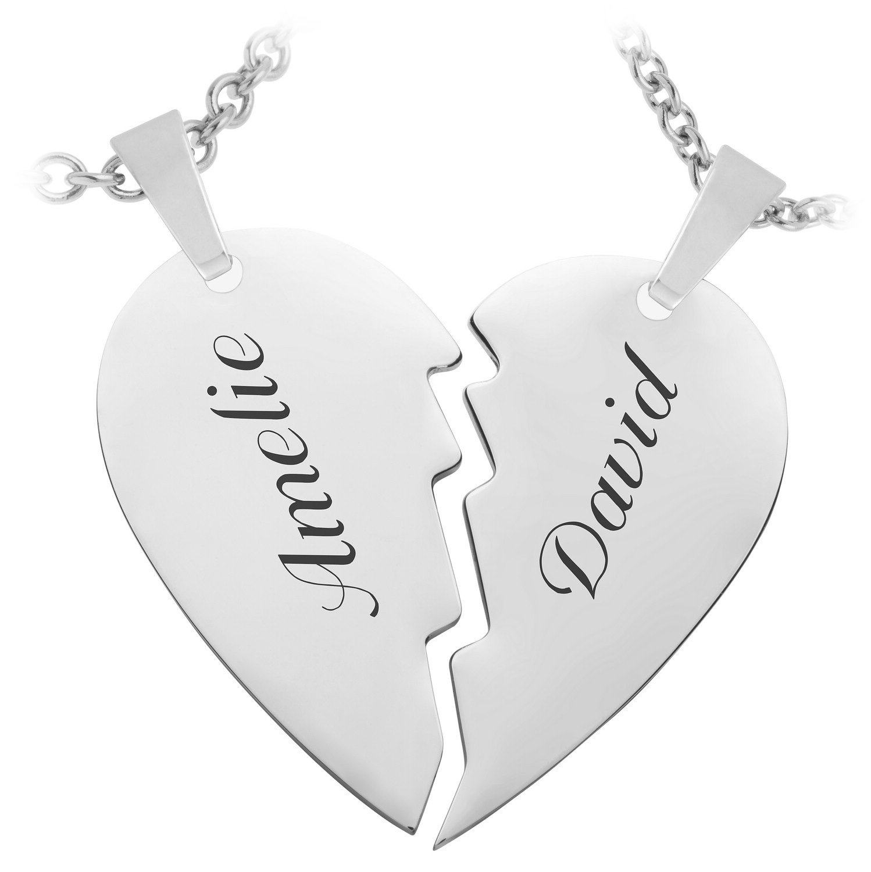 Schmuck-Pur Partneranhänger mit Halskette 4-teilig aus Edelstahl geteiltes Herz mit Laser-Gravur 45 und 50 cm