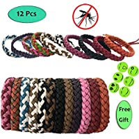 Aoral Mosquito Repellent Bracelet Natural Insect Deet Free Repellent Bands For Long Protection Outdoor and Indoor For Adults & Kids 12pc bracelets With 6 Pieces of Mosquito Repellent Patch