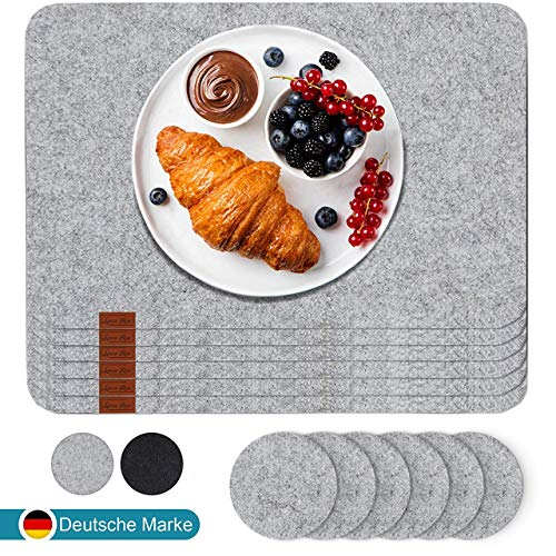 Luana Rose Platzset aus Filz inkl. Glasuntersetzer | 12er Set | Tischset abwischbar - 44x32 cm Filzuntersetzer - Platzdeckchen abwaschbar in Grau - Tischuntersetzer Set Platzset 6er Filz Beige