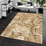 Alfombra Moderna Diseño suelo mármol piedra Salón Alfombra Marrón Top Precio, marrón, 120 x 170...