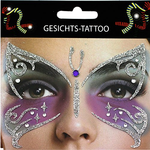 Gesicht Tattoo Face Art Halloween Karneval Träne Fledermaus Flower Power Narbe Spinne (Schmetterling)