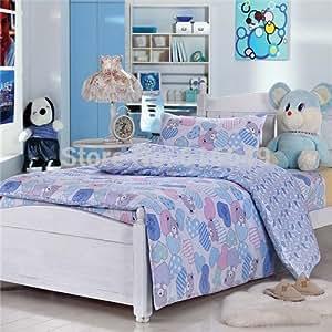 Ensemble de linge de lit 3 pièces pour enfant Motif ours Bleu Rose & Parure de lit housse 100%  coton de couette Taille double/couvre-lit, draps et taies d'oreillers