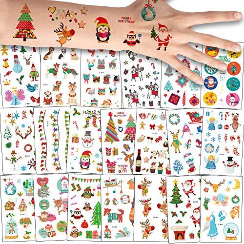 180+ pezzi natale tatuaggi temporanei, babbo natale / fiocco di neve / pupazzo / renna finti tatuaggio temporaneo tattoos adesivi per bambine bambini festa di buon natale sacchetti regalo giocattolo