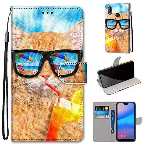 Miagon Flip PU Leder Schutzhülle für Huawei Honor 10 Lite,Bunt Muster Hülle Brieftasche Case Cover Ständer mit Kartenfächer Trageschlaufe,Limonade Katze