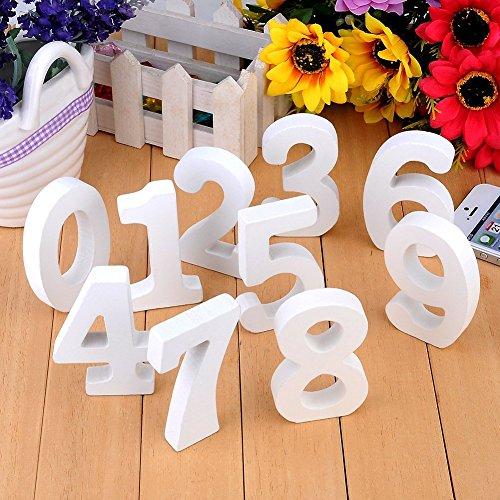 10Pcs Holz Nummer Zahlen 0-9 DIY Malen Dekorationen für Hochzeit Geburtstag Feier Deko (Zahlen Diy Hochzeit Tisch)