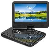 """QKK 10.1"""" Tragbarer DVD Player, Auto DVD Player, 5 Stunden Akku, 270°drehbares HD Display, unterstützt USB und SD Karte, Schwarz."""