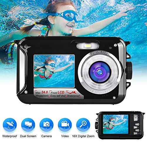 macchina fotografica subacquea fotocamera subacquea digitale 24.0mp 1080p 3.0 metri fotocamera digitale subacquea ripresa macro completamente sigillata doppio schermo lcd da 2,7 pollici