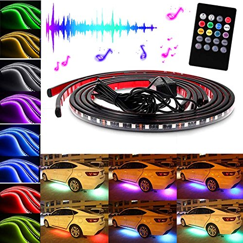 zreal RGB Tira LED Luz Bajo Car underglow Under Body Estimada Mando a Distancia Neon Lights lámpara, 90/120CM