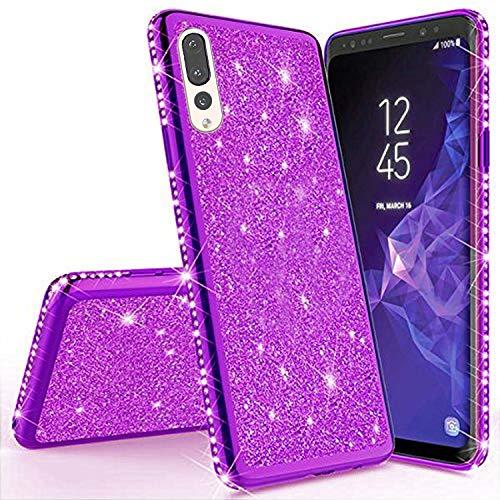 Miagon für Huawei P20 Pro Glitzer Hülle,Bling Überzug Glänzend Strass Diamant Weich TPU Silikon Handy Hülle Etui Tasche Schutzhülle Case Cover