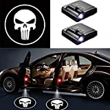 MIVISO LED Car Projector, 2 pezzi Porta auto Welcome Skull Logo Light, Sensore magnetico universale con ombra Logo Light