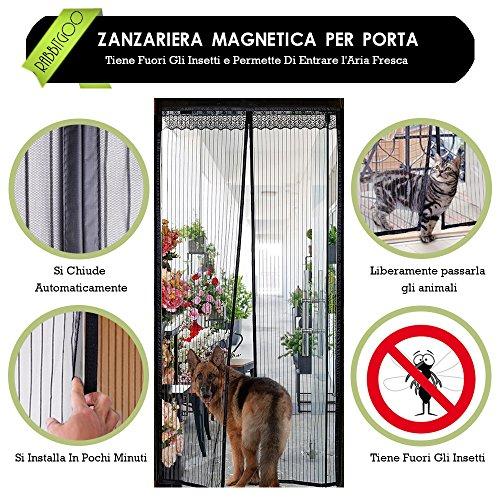 Zanzariera magnetica per porte - rabbitgoo zanzariera porta nera 100x210 cm con calamita e velcro, entra l'aria fresca filtrando fuori gli insetti (per porte misura max 94x208 cm)