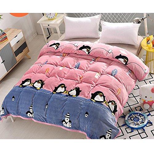 Rollsnownow Rosa Pinguin-Muster-Bett-Decken-Steppdecke-Flanell-Verdickung halten warme Studenten-Schlafsaal-Winter-Blätter ( größe : 150*200cm )