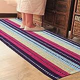 Pragoo Bunte Baumwolle Teppich Hand gesponnene gestreifter Bereich Teppich Küche Wohnzimmer Bodenmatte Waschbar Indoor Teppich 60 * 130 cm